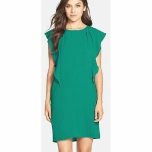 Green Teal Susi Side-Ruffle Flowy Dress
